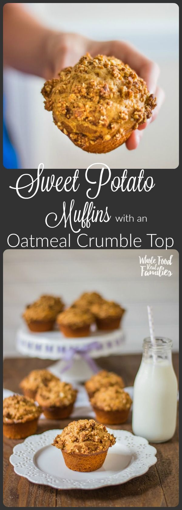 We bake these Sweet Potato Muffins with an Oatmeal Crumble Top anytime there is an extra sweet potato after dinner. They taste AMAZING! My kids love them for breakfast and in their lunchboxes! Make your sweet potatoes in the pressure cooker if you want to save some time!  @wholefoodrealfa