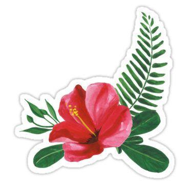 Glossier Iphone Wallpaper Summer Watercolor Beautiful Tropical Flower Sticker