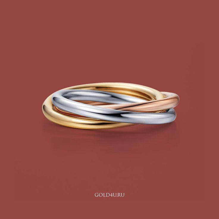"""Немного вдохновения для тех, кто планирует свадьбу в этом году. Цветом 2015 года объявлен – винно-красный тон """"Марсала"""". Этот тон сочетается с любым драгоценным металлом: белым, розовым или желтым золотом, поэтому ограничений при выборе обручального кольца возникнуть не должно. На фото – традиционное русское обручальное кольцо ставшее легендой благодаря одному известному бренду :) В наличии в #gold4u. #trinity #Кольцо #Стиль #мода #обручальноекольцо #тройноекольцо"""
