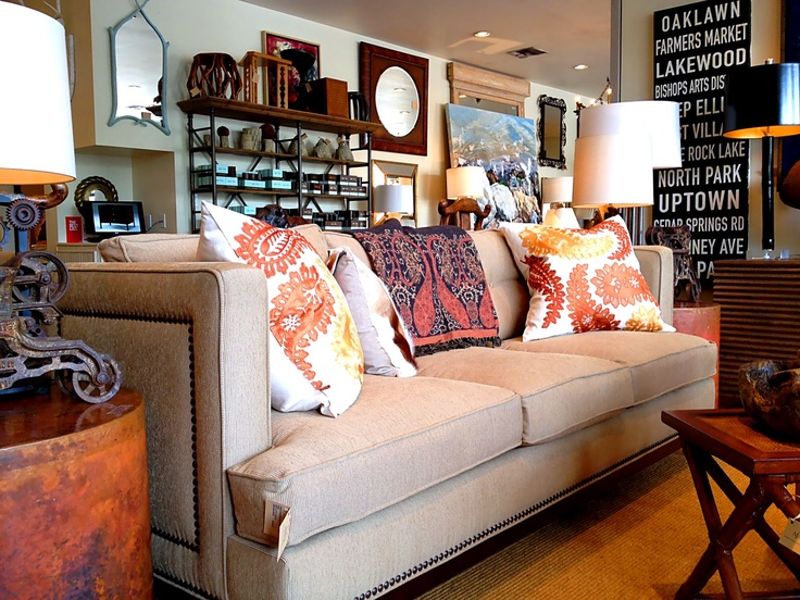 Comfy Sofa With Nailhead Trim And Oversized Pillows In