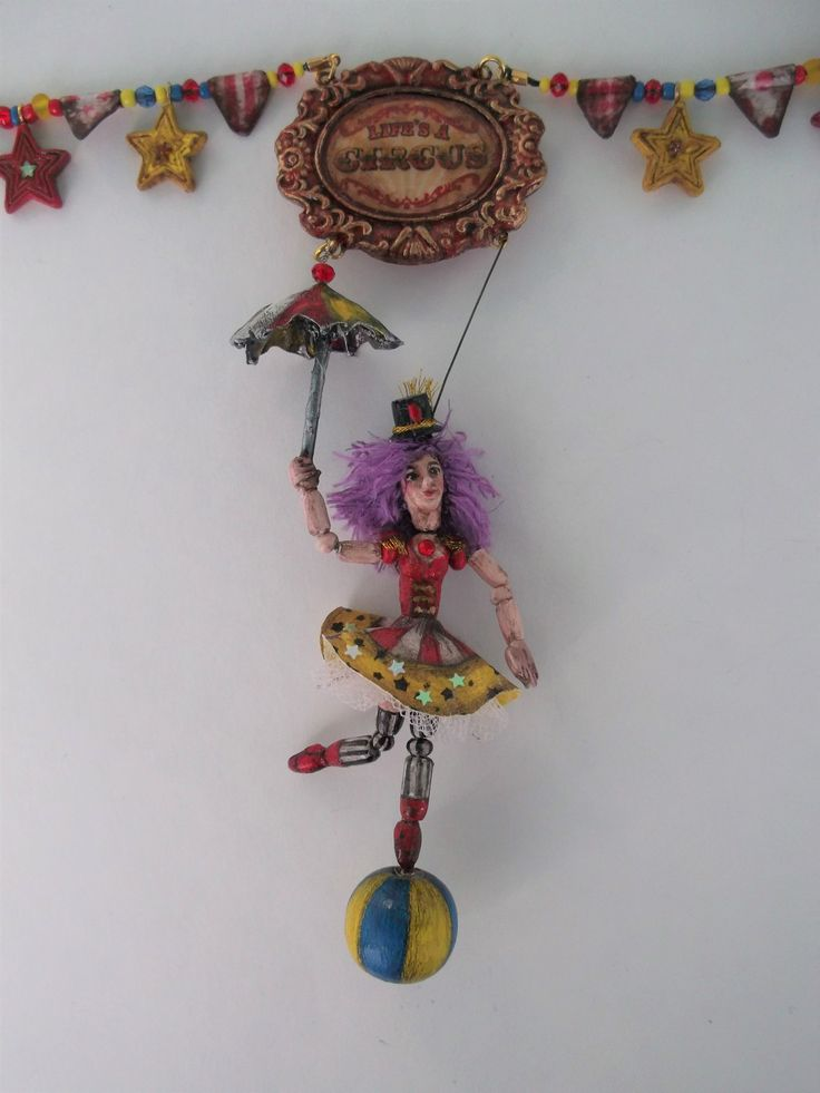 Necklace Art Doll Collection Circus - Equilibrist with Umbrella