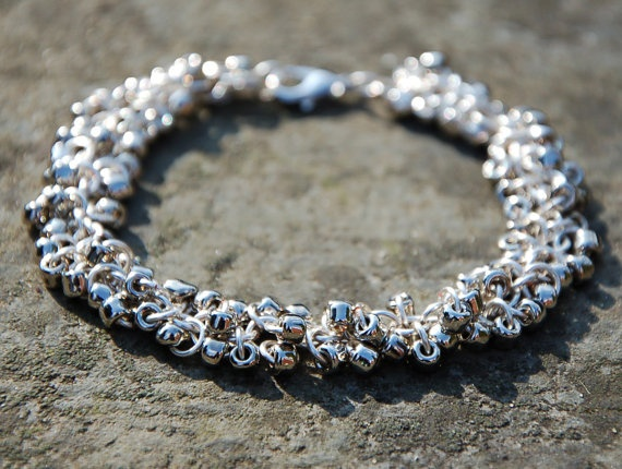 Silver Plated Glass Seed Bead Chainmaille Bracelet by Enchanted Loot.