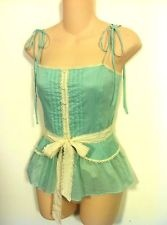 Robert Rodriquez Mint Green Cami Top with Ivory Lace Trim. Size 6, S