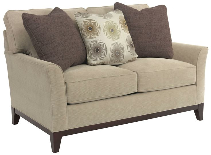 Reclining Sofa Perspectives Contemporary Stationary Loveseat with Flare Tapered Arms by Broyhill Furniture Hudsons Furniture Love
