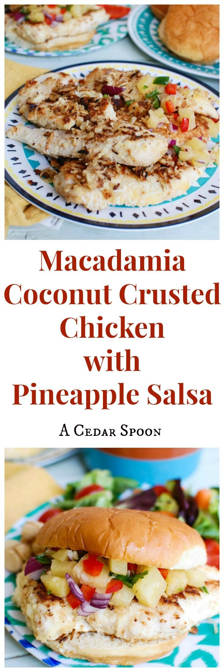 Macadamia Coconut Crusted Chicken with Pineapple Salsa brings fresh tropical flavors together to create a crispy, sweet crusted chicken using macadamia nuts and shredded coconut. The chicken works great on sandwiches or over a bed of rice topped with the fresh pineapple salsa. // A Cedar Spoon