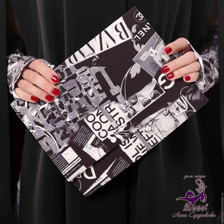 """Купить Клатч - сумочка из ткани с авторским принтом """"Журналы с брендами""""…"""