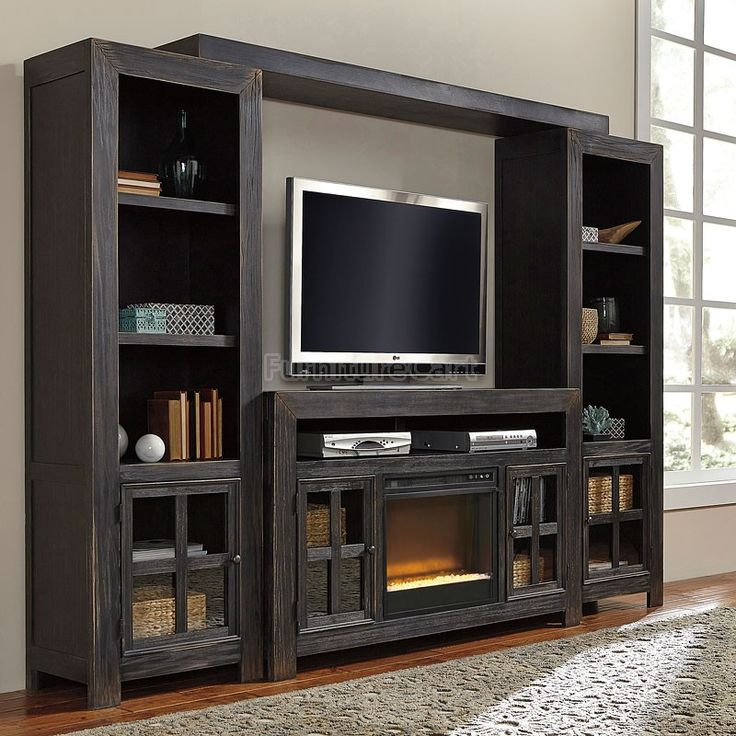 Gavelston Large Entertainment Wall W/ Glass And Stone