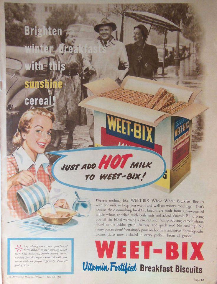 WEET-BIX RETRO PACK ART AD 1953 original vintage AUSTRALIAN kitchen advertising