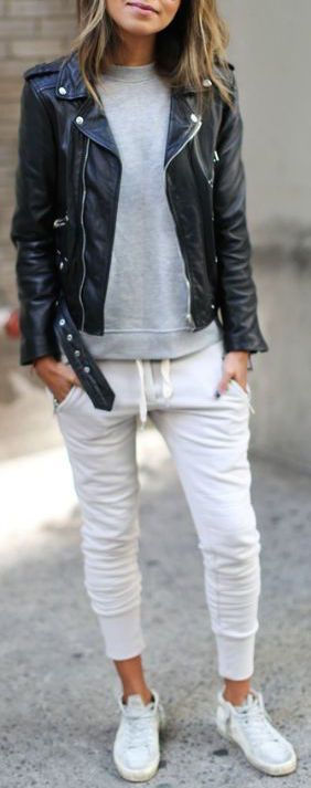 #fall #fashion / leather jacket + joggers