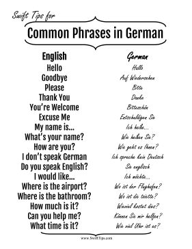 Native English speakers can practice basic German phrases with this printable language guide. Free to download and print