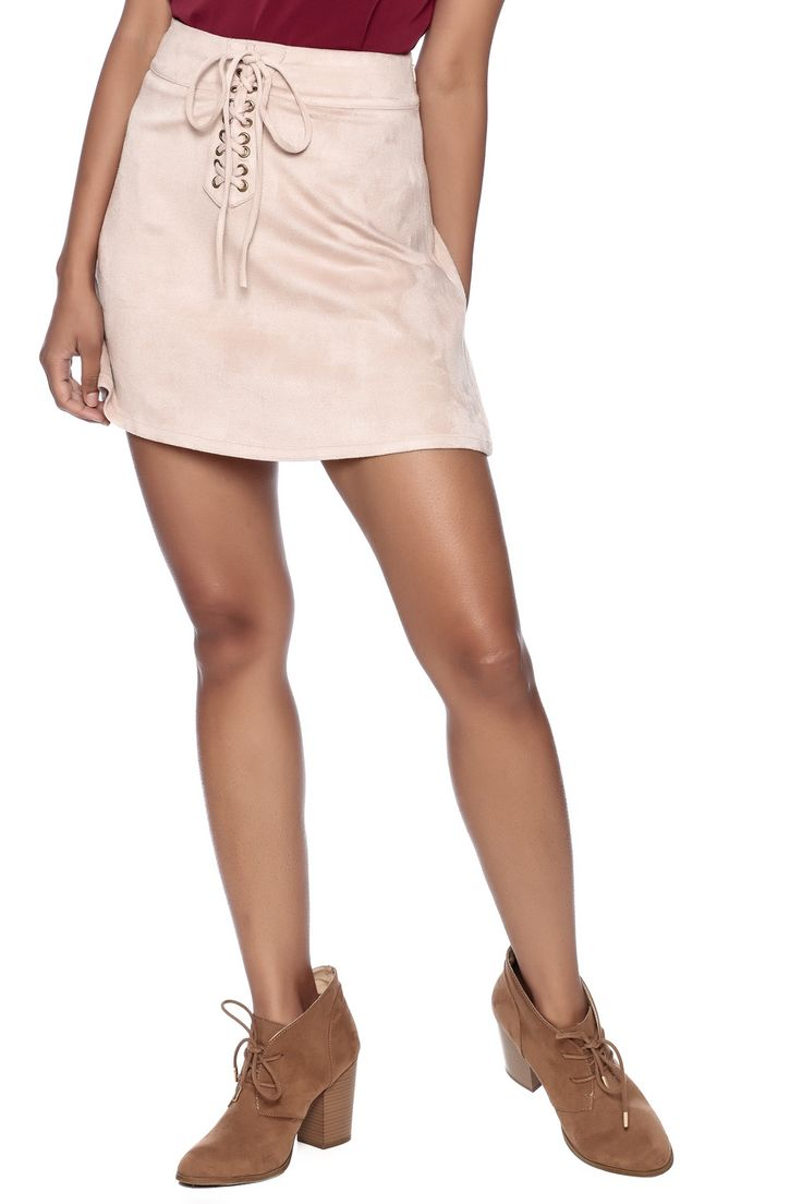 Faux suede A-line skirt with a lace up front and hiddenside zipper closure.  Mod Skirt by Soprano. Clothing - Skirts - Suede Clothing - Skirts - A Line California