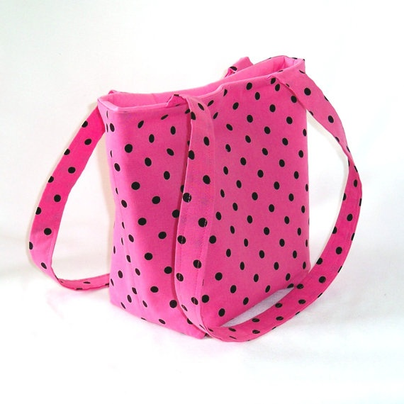 Pink Polka Dot Purse Tote Bag Handbag Pink by ColleensDesigns