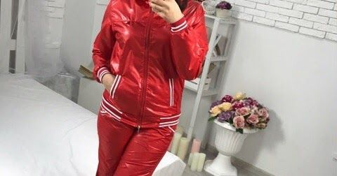 A shiny nylon tracksuit girl gallery with different color variations ...