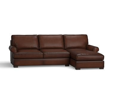 Townsend Roll Arm Leather Left Chaise Sofa Sectional, Polyester Wrapped Cushions, Leather Burnished Walnut