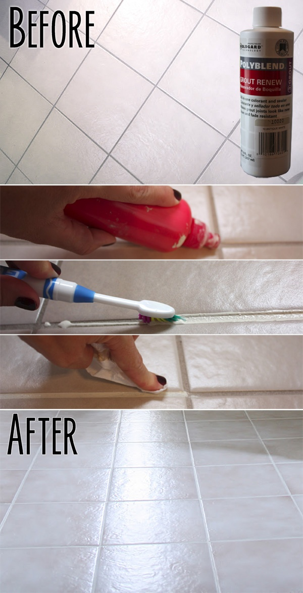 Updating | TILE & GROUT :: Easy Tile Update :: Make your tiles' grout look CLEAN & NEW w/o having to retile & re-grout with...GROUT PAINT (a.k.a. Grout Renew). She transformed outdated dingy-looking gray grout into nice sparkly clean white grout in a couple hours! | #grout #restyle #theyellowcapecode #tile