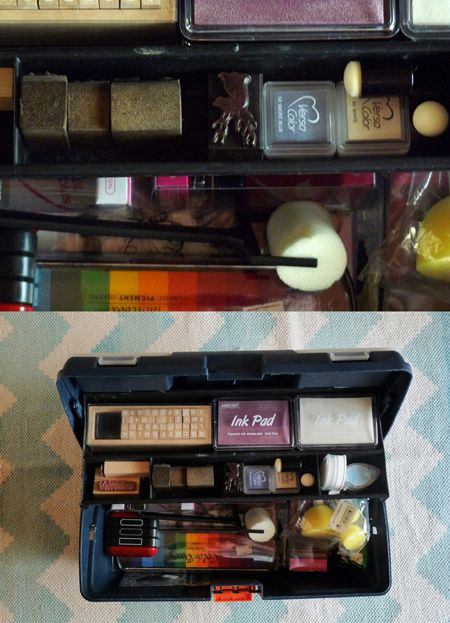 DIY organization ideas from my home office: an old toolbox fpr stamping supplies...