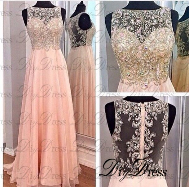 2018New Design A-line High Neck Beaded Bodice Blush Chiffon Prom Dresses  Long Formal Party Dresses APD1282  e3d1e083c