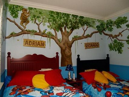 Amazing Forest Jungle Wild Animals Cartoon Wall Murals Stickers in Shared Boys Bedroom Decorating Designs Ideas