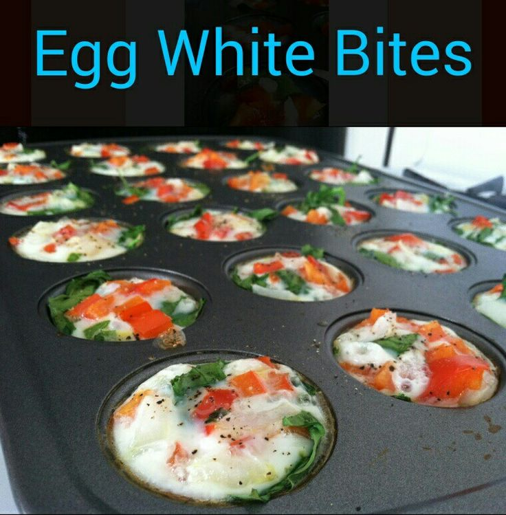 Pre-heat oven to 350. Spray a mini muffin pan with non-stick spray. Add what you would normally put in an omelet (spinach, mushrooms, tomatoes, low-fat cheese, etc). Fill the remainder of the cups in with egg whites to cover other ingredients and bake for 10 minutes. Http://www.beachbodycoach.com/werworthit