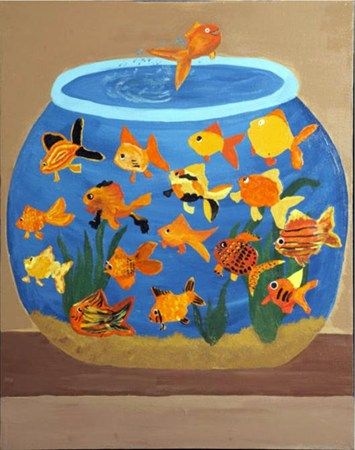 goldfish bowl- each 1st grade student does a fish...  could also do a koi fish pond for 4th grade!