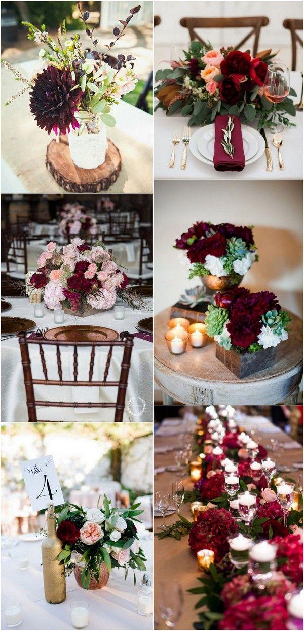 Burgundy And Greenery Rustic Outdoor Fall Wedding Centerpiece 2 Flower Centerpieces Wedding Burgundy Wedding Centerpieces Wedding Centerpieces Diy