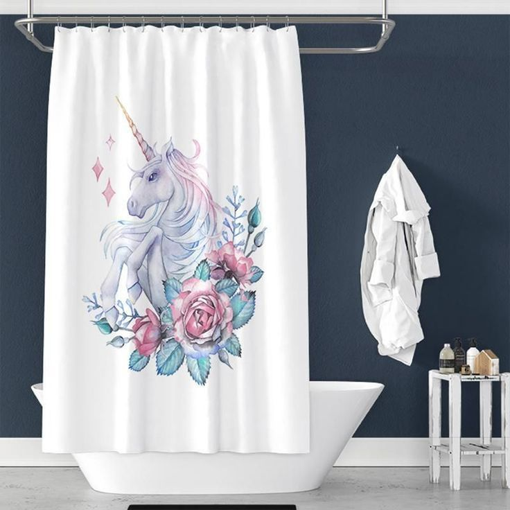 Watercolor Unicorn Flower Pattern Pongee Shower Curtain Tychome