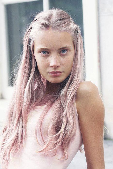 Pink Rose Hair Color Light pink hair.