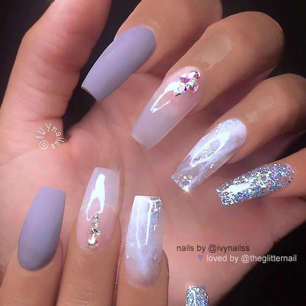 Repost Matte Lilac Grey Marble Effect And Glitter On Long Tapered Square Nails Lilac Nails Tapered Square Nails Lilac Nails Design