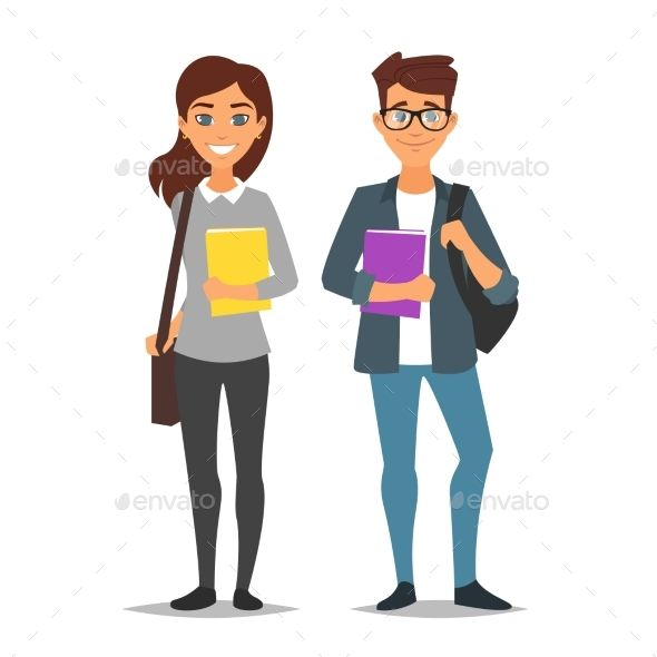Vector Cartoon Style Characters Young Student Man And Woman Isolated On White Background Cartoon Styles Cartoon Man