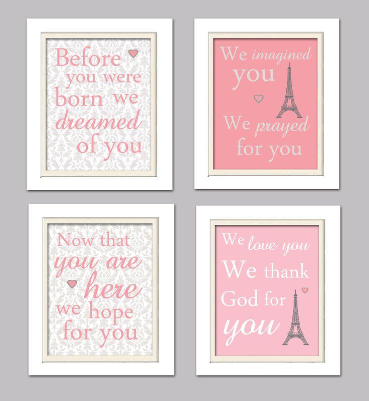 Nursery Quad, Pink and Grey Nursery, Eiffel tower nursery, Set of 4 8X10, Pink, Grey, Nursery Poem by ChicWallArt on Etsy https://www.etsy.com/listing/177848744/nursery-quad-pink-and-grey-nursery