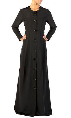 XL Long solid black abaya/kaftan maxi coat