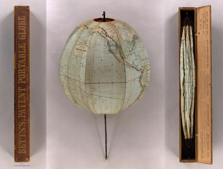 A foldable, portable globe from 1852. Made by John Betts
