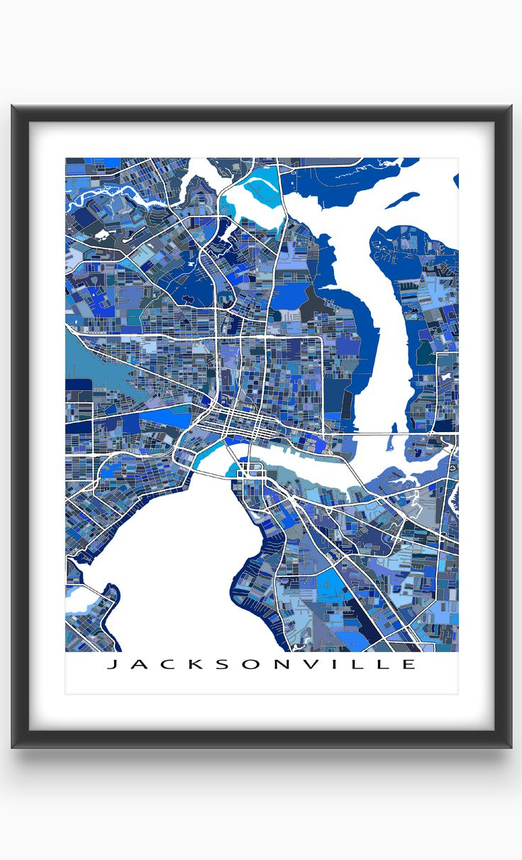 Love Jacksonville Florida? Then this Jacksonville map be great on your wall!  This city map has an abstract art design made from of lots of little blue shapes. Each shape is actually a city block or a piece of land - and these shapes combine like a puzzle or mosaic to form this #Jacksonville print. #map #JacksonvilleFlorida