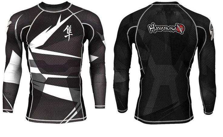 Hayabusa Rashguard MMA Training T Shirt Long Sleeved Bjj Fight Wear Kick Boxing  #Hayabusa #RashGuard