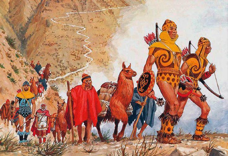 Au nord de Lima, dans les gorges de Montaro, un convoi de lamas lourdement charges est escorte d'archers incas. La caravane descend des lingots d'argent, extraits de mines situees a plus de 4000 metres d'altitude