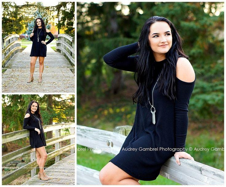 Senior Girl, Bridge, University, High School, Senior Portraits, Black Dress