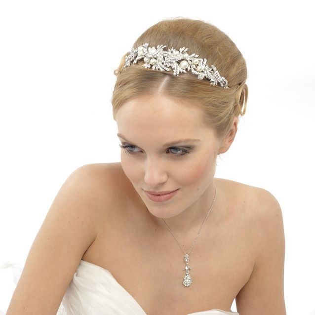 Crystal & Pearl Head Piece.  Can be positioned to the top, side or around any up-do.