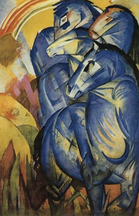 Franz Marc ~ Tower of Blue Horses (lost), 1913 http://www.cavetocanvas.com/post/5705656852/tower-of-blue-horses-lost-franz-marc-1913