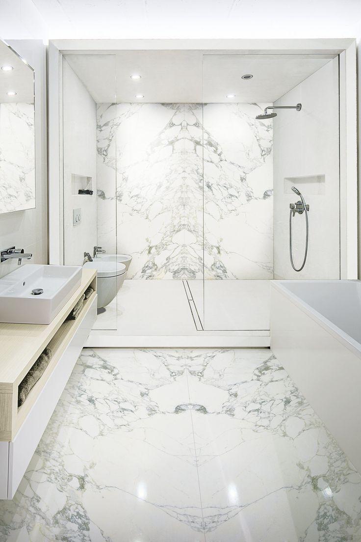 StonePeak Ceramics | Plane Collection | Arabescato Vena A B #whitebathroom  #winteriscoming #white #