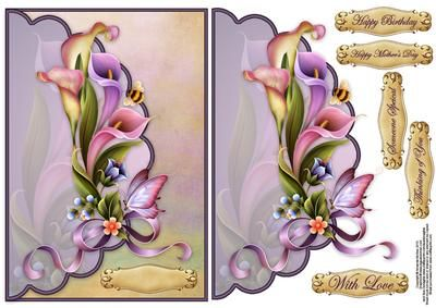 Calla lilies and pretty bugs envelope card on Craftsuprint designed by Amanda McGee - Stunning envelope card featuring calla lilies and pretty bugs - Now available for download!