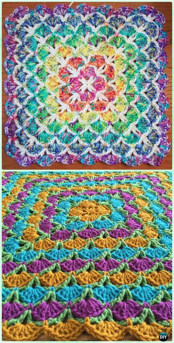 Crochet Beautiful Shells Blanket Free Pattern - Crochet Rainbow Blanket Free Patterns