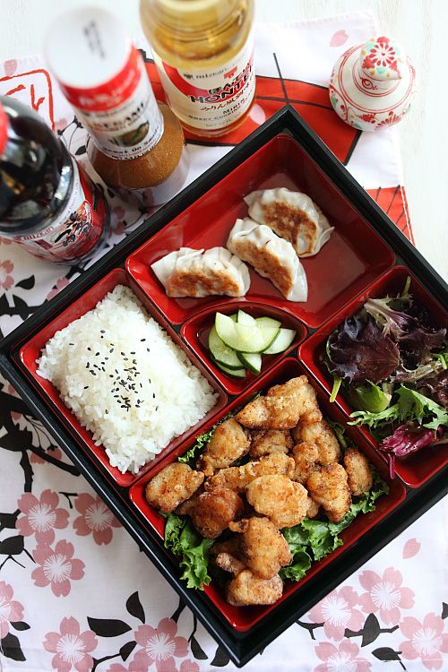 """Japanese Fried Chicken Bento - Pinner said, """"One of my favorite bento is chicken karaage, or Japanese fried chicken bento. In the United States, chicken kaarage is also referred to as sesame fried chicken in many Japanese restaurants. Click for recipe!"""""""