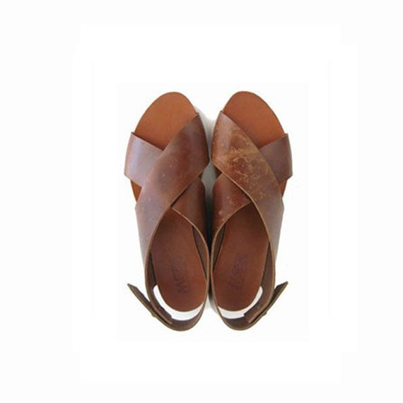 SALE 30% OFF! Brown Crossed Women sandals / Brown leather sandals / peep toe shoes / open toe sandals