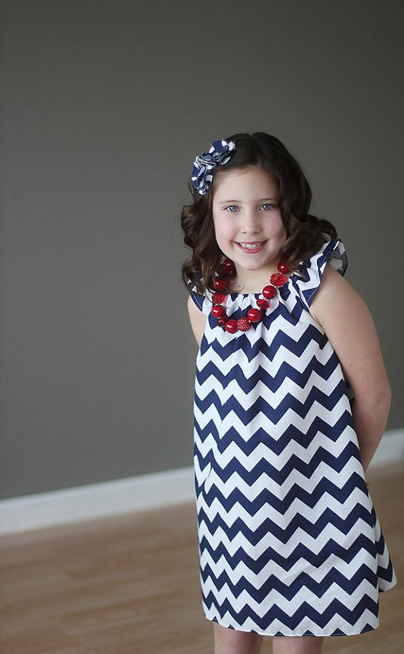 Navy and White Simply Cute Chevron Dress by blumoondesign on Etsy, $34.00