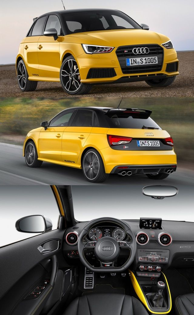 Audi #S1 #Quattro  2.0-liter TFSI motor puts out 231 horsepower and a very healthy 273 pound-feet of torque.  0-60 in 5.8 sec.  Quattro All-Wheel Drive and a 6-speed manual are standard.