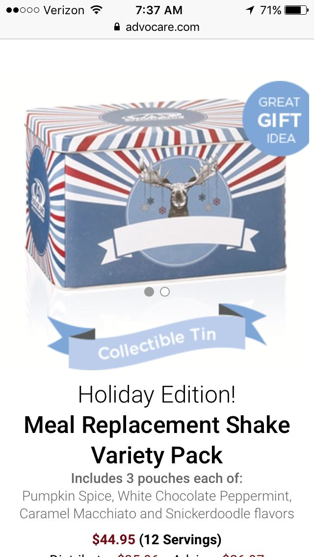 AdvoCare Meal Replacement Shake In a collectible Tin :) Variety Pack: 3 pouches of each - White Chocolate Peppermint -  Pumpkin Spice - Caramel Macchiato - Snickerdoodle Cyber Monday Exclusives!! Free shipping in orders over $175 retail from November 28-30 www.advocare.com/150858328