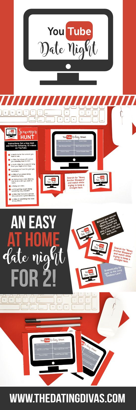 A date night full of scavenger hunts with challenges - all on the YouTube website. An at-home date night that is quick and easy to prep!