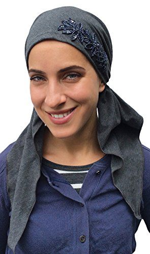 PREMIUM Headscarf, Pre-Tied FITTED Headwear for Cancer COTTON Charcoal Grey. COTTON STRETCH Pre tied headscarf Charcoal Grey With SLATE COLOR SEQUIN FLOWERS. MIA HEAD WRAP With A CLASSY RICH INTERNATIONAL STYLE. COMFORTABLE, SECURE FIT: Our products are designed with both men and women in mind. Made from top quality fabrics such as 100% American Organic Cotton, Lace, Bamboo and Denim. NO FUSS DESIGN: Head friendly and offers FULL-COVERAGE. Easy on - easy off. Ideal for cancer patients…