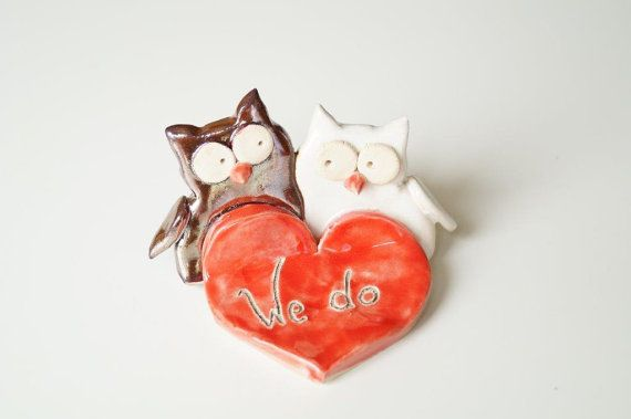 Wedding Cake Topper Owl Cake Topper Owl Couple by HerMoments