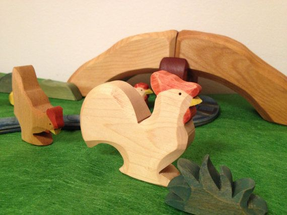 Chiken family Waldorf inspired 6 pieces by brindbois on Etsy, $40.00